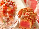 Seared Tuna Steak with Tomato Salad recipe
