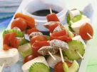 Skewers with Brie, Salami and Vegetables recipe