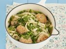 Smoked Trout Dumplings with Pasta and Peas recipe