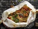 Spaghetti and Prawn Parcels recipe