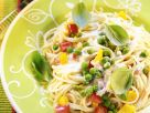 Spaghetti with Cream Sauce and Vegetables recipe