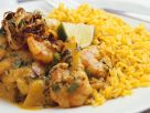 Spicy Shrimps with Coriander and Rice recipe