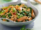Spinach Chicken Stir-fry with Cilantro and Nuts recipe