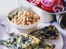 Spinach Frittata with Chickpea and Tomato Salads recipe