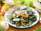 Spinach Salad with Oyster Mushrooms and Cheese Toast recipe