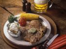 Steak with Corn on the Cob, Grilled Tomato and Baked Potato recipe