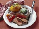Steak with Herb Butter and Baked Potatoes recipe