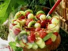Strawberry, Honeydew and Kiwi Salad with Almonds recipe