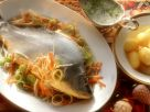 Striped Bass with Carrots, Celery and Dill Sauce recipe