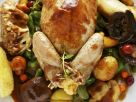 Stuffed Quail with Autumn Vegetables recipe