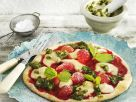 Sweet Strawberry Pizza with Marzipan and Pistachio Pesto recipe