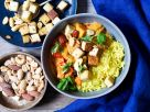 Tofu Vegetable Curry with Rice and Nuts recipe