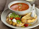 Tomato Soup with Basil Oil and Bruschetta recipe