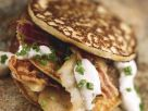 Trout, Sour Cream, and Chive Buckwheat Pancakes recipe