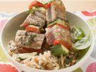 Tuna Vegetable Skewers on Rice recipe