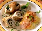 Turkey Roulade with Spinach and Carrots and Potato Gratin recipe