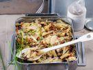 Vegan Pasta Gratin with Pear and Radicchio recipe