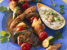 Vegetable, Turkey and Sausage Kebabs with Yogurt Dip recipe