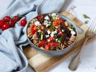 Veggie Rotini with Tomato Sauce, Lentils and Feta recipe