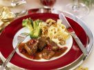 Venison Goulash with Pappardelle Pasta and Broccoli recipe