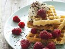 Waffles with Raspberries and Cream recipe