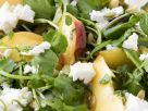 Watercress Salad with Feta, Peaches, and Pumpkin Seeds recipe