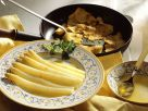 White Asparagus with Butter Sauce and Pancakes recipe