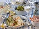 White Asparagus with Shrimp and Green Pappardelle recipe