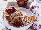 Whole Wheat Waffles with Cherry Compote and Dark Chocolate Sauce recipe