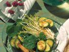 Zucchini, Arugula and Snow Pea Salad with Crispy Toast recipe