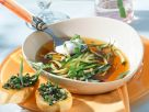 Zucchini Soup with Olive Crostini recipe