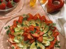 Zucchini Strawberry Carpaccio with Pine Nuts recipe