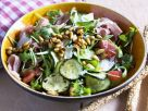 Zucchini, Tomato and Arugula Salad with Pine Nuts and Ham recipe